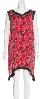 Thakoon Leather-Trimmed Floral Print Dress