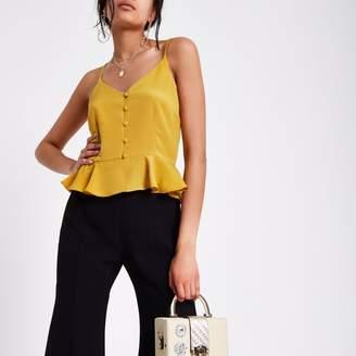 River Island Womens Dark Yellow peplum hem button front cami top