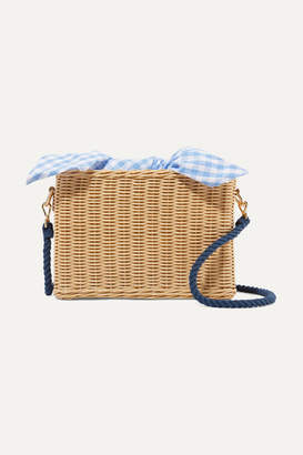 Kayu Chloe Wicker And Gingham Cotton-canvas Shoulder Bag - Beige