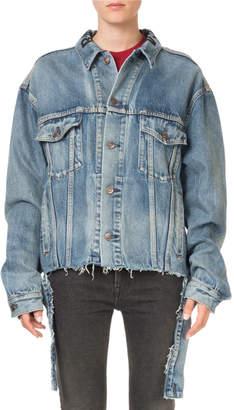 Balenciaga Oversized Vintage Cut-Waistband Denim Jacket