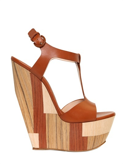 Casadei 160mm Wood & Leather T-Bar Wedges