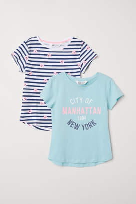 H&M 2-pack Printed T-shirts - Turquoise
