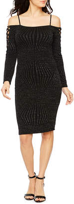 PREMIER AMOUR Premier Amour Long Sleeve Cold Shoulder Glitter Knit Sheath Dress