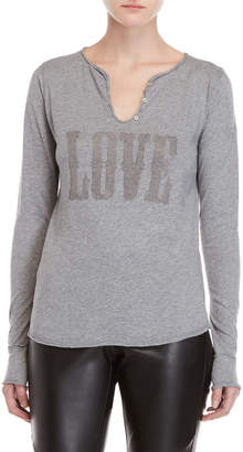 Zadig & Voltaire Love Studded Long Sleeve Tee