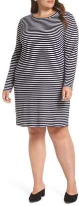 MICHAEL Michael Kors Long Sleeve Ribbed Stripe T-Shirt Dress