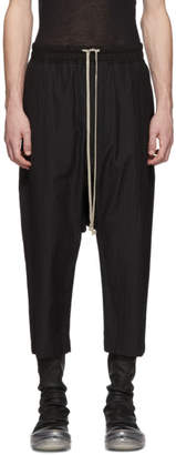 Rick Owens Black Striped Drawstring Cropped Trousers