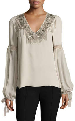 Elie Tahari Clementine Tie-Sleeve Mixed-Media Silk Blouse $398 thestylecure.com