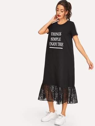ef0b6ea803e4f Shein Slogan Print Striped Sleeve Lace Hem Tee Dress