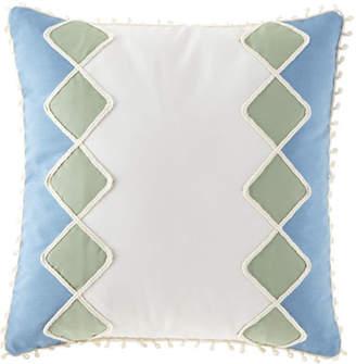 """Eastern Accents Celerie Kemble Sail Celadon Diamonds Pillow, 20""""Sq."""