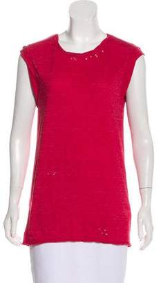 Pam & Gela Distressed Short Sleeve Top