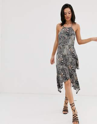 6e7c641ae283 Asos Design DESIGN cami midi sundress with ruffle hem in mixed animal print