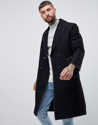 Asos DESIGN wool mix double breasted overcoat in black