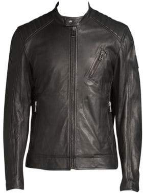 Belstaff Lambskin Leather Racer Jacket