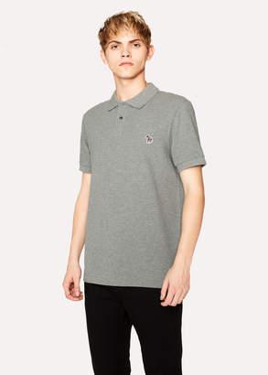 Paul Smith Men's Grey Marl Organic Cotton-Pique Zebra Logo Polo Shirt