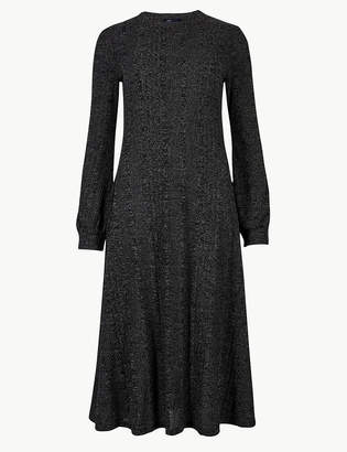 Marks and Spencer Jersey Cuff Sleeve Midi Swing Dress