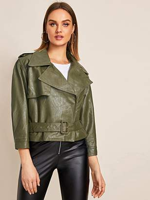 Shein Solid Lapel Belted PU Biker Jacket