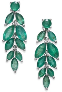 Macy's Emerald Vine-Inspired Drop Earrings (5-1/4 ct. t.w.) in Sterling Silver