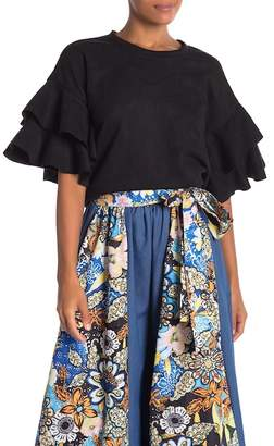 CQ by CQ Faux Suede Tiered Ruffle Blouse