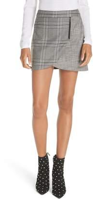 Alice + Olivia Mix Check Overlap Mini Skirt