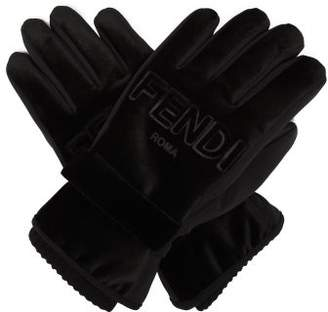 Fendi Logo Embossed Velvet Trimmed Gloves - Womens - Black