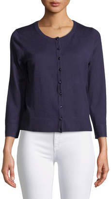 Neiman Marcus 3/4-Sleeve Button-Front Cardigan