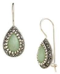 Lord & Taylor Sterling Silver And Marcasite Jade Drop Earrings