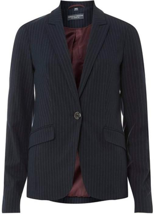 Womens Navy Pinstriped Suit Jacket