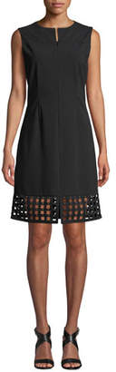 Misook Studded Lattice-Hem Sleeveless Dress