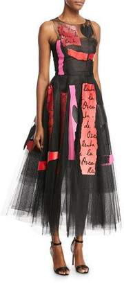 Oscar de la Renta Embroidered Leather and Tulle Cocktail Dress