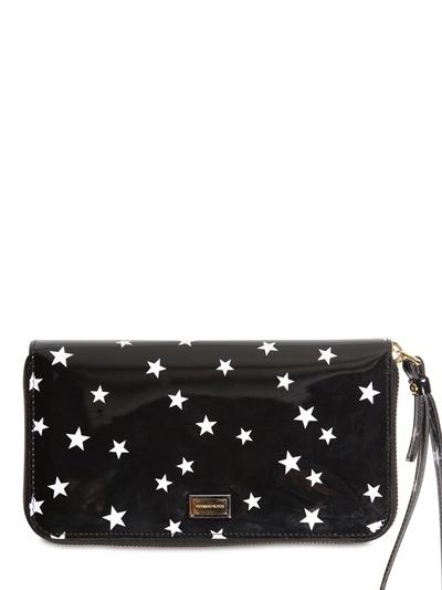 Dolce & Gabbana Star Print Zip Around Calfskin Wallet