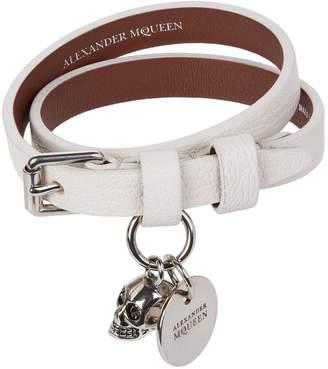 Alexander McQueen Leather Double Wrap Skull Bracelet