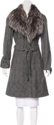 Antonio Berardi Fox-Fur Trimmed Wool-Blend Coat