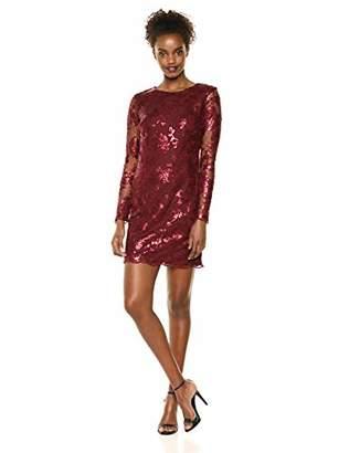 6eec576a Dress the Population Women's Grace Long Sleeve Sequin Lace Mini Dress