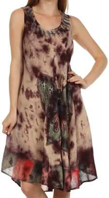 Sakkas 217 Tie Dye Butterfly Tank Sheath Caftan Mid Length Cotton Dress - /