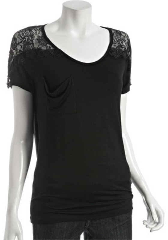 Wyatt black lace jersey pocket top