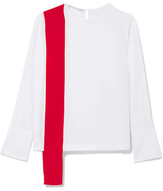 Stella McCartney Draped Two-tone Silk-crepe Top - White