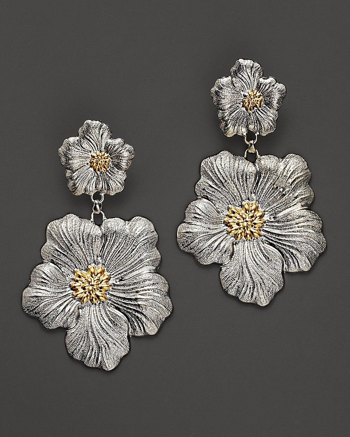 "Buccellati Blossom"" 1 Large and 1 Small Flower Pendant Earrings with Gold Accents"