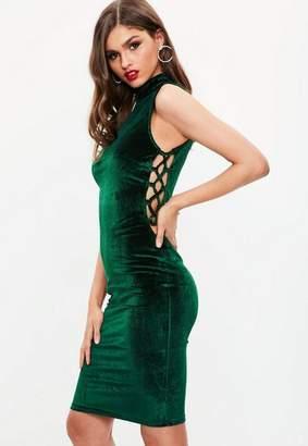 Missguided Green Velvet High Neck Dress