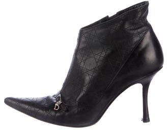 Christian Dior Cannage Pointed-Toe Ankle Boots