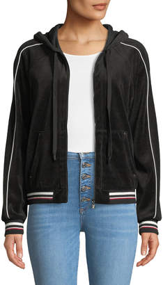 Laundry by Shelli Segal Striped Velour Hooded Jacket