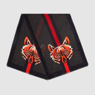 Gucci GG wool stole with wolf