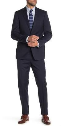 Calvin Klein Navy Plaid Slim Fit Two Button Notch Lapel Wool Suit