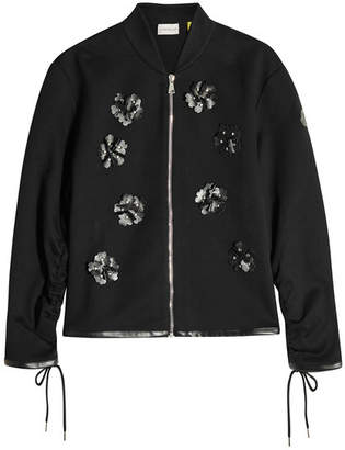 Noir Kei Ninomiya Moncler Genius 6 Moncler Zipped Jacket with Leather Embellishment