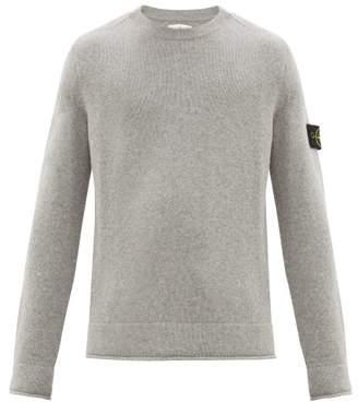 Stone Island Logo Patch Wool Blend Sweater - Mens - Light Grey