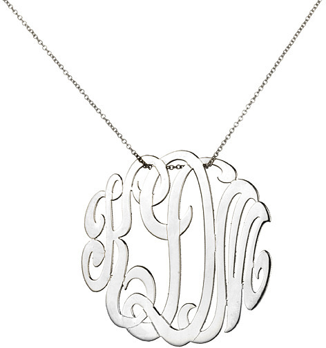 ginette_ny Medium Lace Monogram Necklace, White Gold