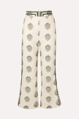 Zimmermann Verity Cropped Grosgrain-trimmed Floral-print Linen Flared Pants - Cream
