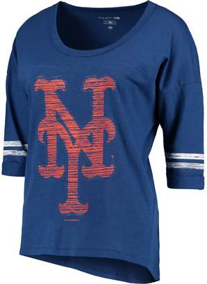 New Era Women's 5th & Ocean by Heathered Royal New York Mets MLB Slub 3/4 Sleeve Scoop With Hi Lo Hem T-Shirt