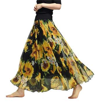 Kedera Womens Chiffon Floral Pleated Skirt Blending Long Dress