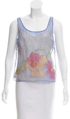 Tocca Embroidered Silk Top