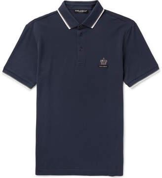 Dolce & Gabbana Embroidered Cotton-piqué Polo Shirt